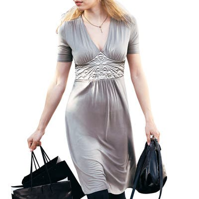 robe grise fete grande taille la redoute. Black Bedroom Furniture Sets. Home Design Ideas
