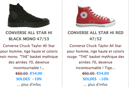 Guide converse taille - Akileos