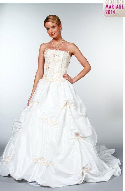 Robe de mariée grande taille bustier modèle Sivanka en taffetas ...