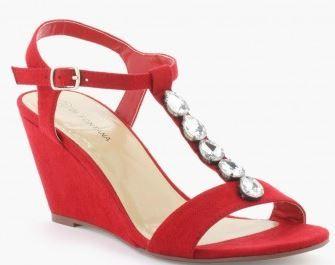 sandale compensees rouges la halle