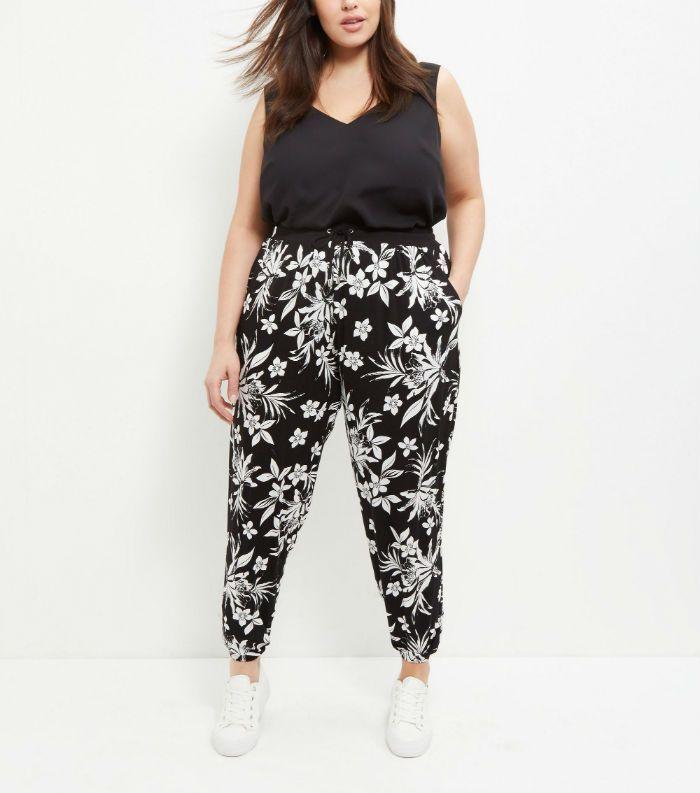pantalon imprime fleurs noir blanc new look