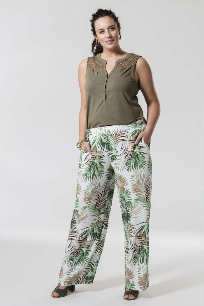 a1a6ab8b313 pantalon fluide large palmiers MS Mode