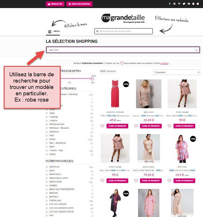 6dceca917492a Vous pouvez également utiliser la barre de recherche cerclée de rose afin  de faire sélection encore plus pointue en tapant par exemple   robe rose