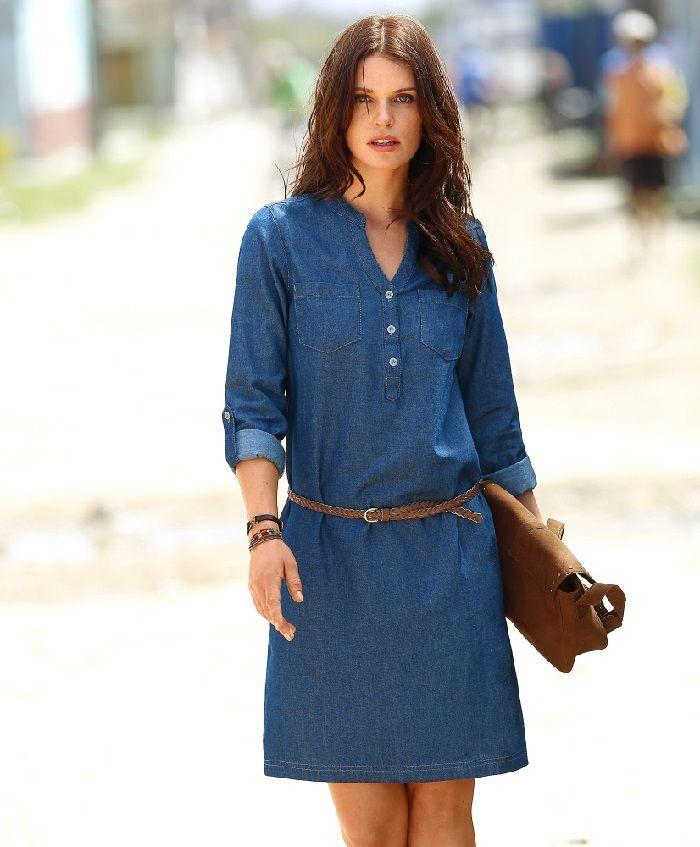 Robe chemise en jean grande taille