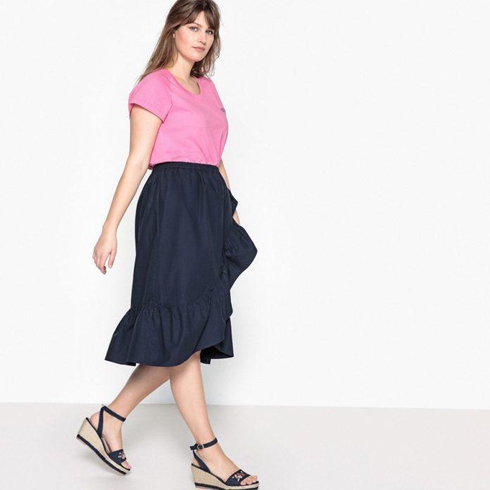 1 - La jupe évasée volantée bleu marine f0df294e164
