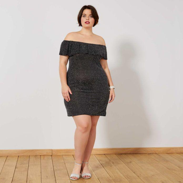 3 - La robe pailletée noire à encolure Bardot 305169dc4e6e